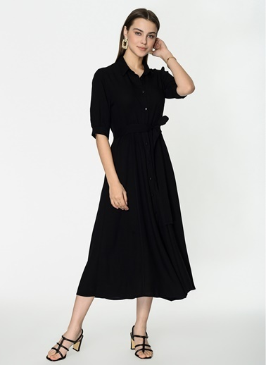 Loves You Astarlı Midi Boy Gömlek Elbise Siyah